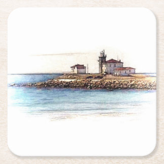 Watch hill Lighthouse coasters Square Paper Coaster