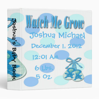 Watch Me Grow  - Boy Booties Keepsake Baby Book 3 Ring Binder