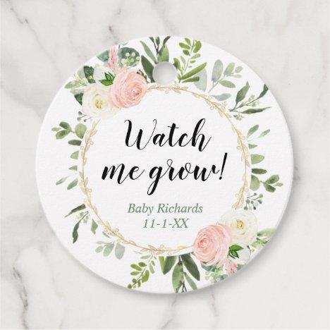Watch me grow greenery gold pink eucalyptus baby favor tags