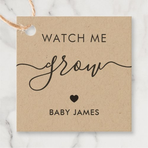 Watch Me Grow Plant Baby Shower Tag Kraft Favor Tags