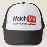 """Watch Me on YouTube (Basic) Trucker Hat<br><div class=""""desc"""">Now there&#39;s a way to promote your YouTube page and drive traffic to your landing page. Show your fans where they can get more of your videos! Upload your YouTube QR code so that people can scan it with their smart phone and be directly taken to your awesome videos. Personalize...</div>"""