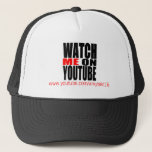 """Watch Me on YouTube   Modern (Dark) Trucker Hat<br><div class=""""desc"""">Now there&#39;s a way to promote your YouTube page and drive traffic to your landing page. Show your fans where they can get more of your videos! Upload your YouTube QR code so that people can scan it with their smart phone and be directly taken to your awesome videos. Personalize...</div>"""