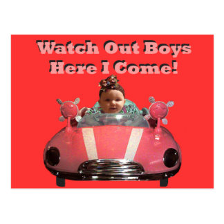 Watch Out Boys Here I Come! Postcard