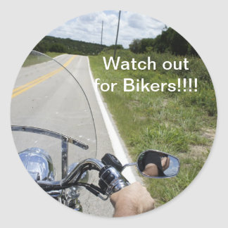 Watch out for Bikers Classic Round Sticker