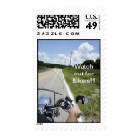 Watch out for Bikers Postage Stamps