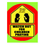 Watch Out for Children Praying Post Card