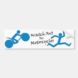 Watch Out For Motorcycles - Blue/White Car Bumper Sticker