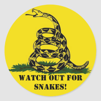 Watch out for snakes! classic round sticker