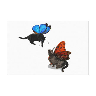 Watch out, kitty fairies canvas wall art