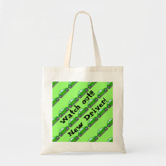 Watch out!!! New Driver! Green Car Tote Bag