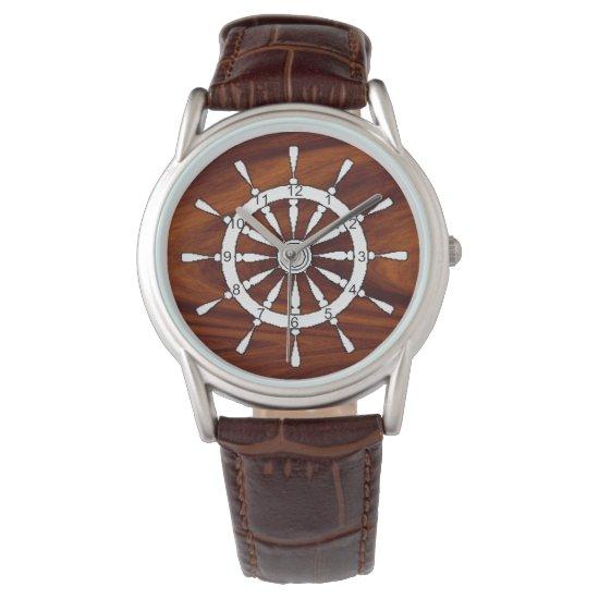 Watch - Ship Wheel on wood (v.2)