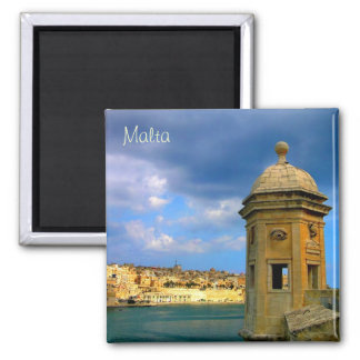 Watch tower in Malta near Valletta 2 Inch Square Magnet