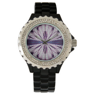 Watch with a digital art abstract mosaic design