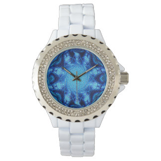 Watch with a digital art mosaic abstract design
