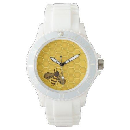 Watch With Golden Honeycomb And Honeybee