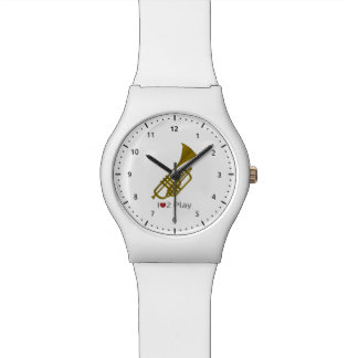 Watch with illustration of a trumpet