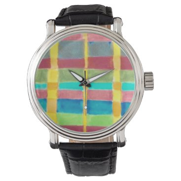 gwena2009 Watch with multicolored plaid face, black band