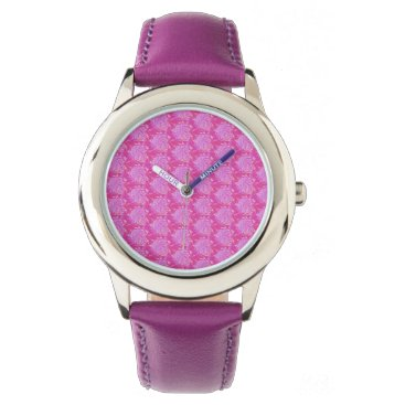 gwena2009 Watch with pink flower design, fuchsia band