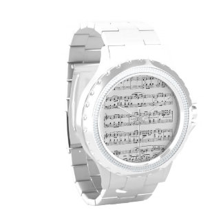 Watch with Rhinestones and Sheet Music Notes