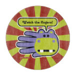 Hand shaped Watch your fingers Hippo cutting board