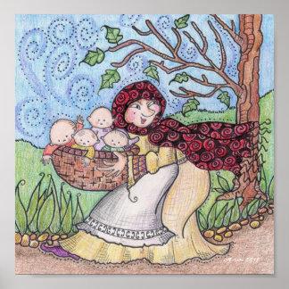 Watch Your Grandbabies Ukrainian Folk Art Poster