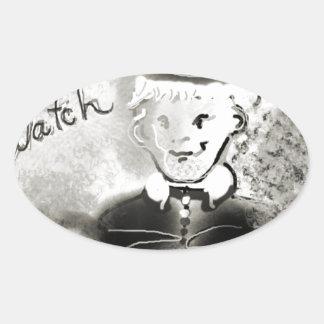 watchb&w oval sticker