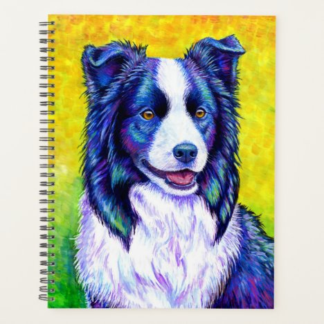 Watchful Eye Colorful Border Collie Dog Planner