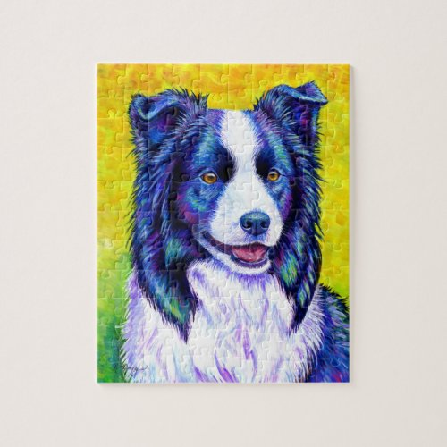 Watchful Eye Colorful Border Collie Dog Puzzle