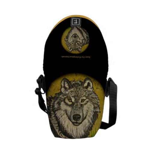 Watchful Eyes Wolf Messenger Bag