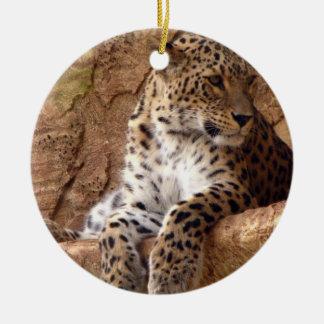 Watchful Leopard Ornament