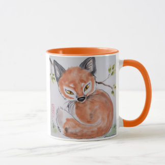 Watchful Red Fox, Oriental Design Mug by Tuzi