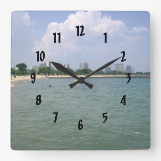 Watchin The Day Go By Out on the Lake Square Wallclock