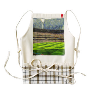 Watching a match in a stadium zazzle HEART apron