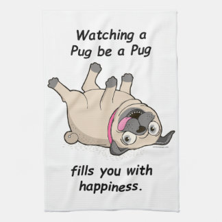 Watching a Pug be a Pug Fills You With Happiness. Hand Towel