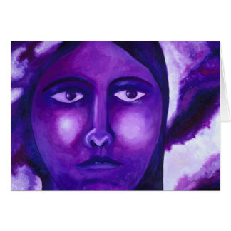 Watching, Abstract Purple Goddess Compassion Greeting Card