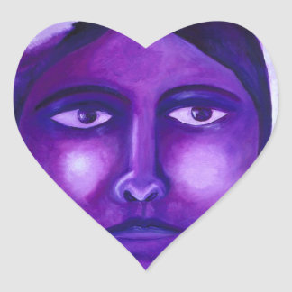 Watching, Abstract Purple Goddess Compassion Heart Sticker