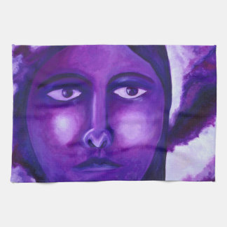 Watching, Abstract Purple Goddess Compassion Kitchen Towels