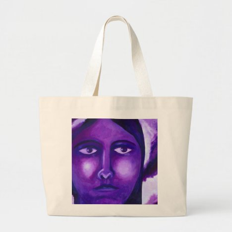 Watching, Abstract Purple Goddess Compassion Large Tote Bag
