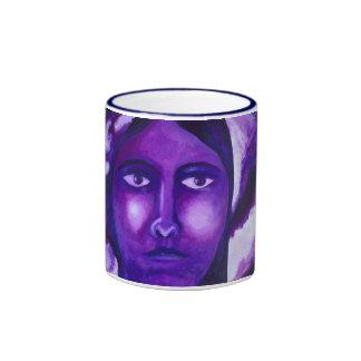 Watching, Abstract Purple Goddess Compassion Mugs
