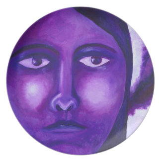 Watching, Abstract Purple Goddess Compassion Dinner Plate