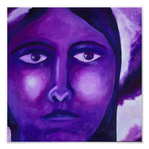 Watching, Abstract Purple Goddess Compassion Poster