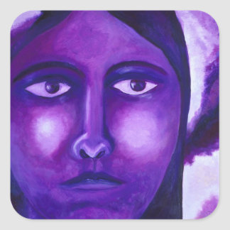 Watching, Abstract Purple Goddess Compassion Square Sticker