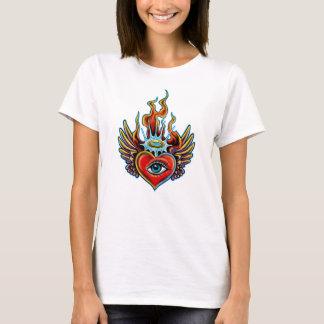Watching Angel Eye Winged Heart Halo Design T-Shirt