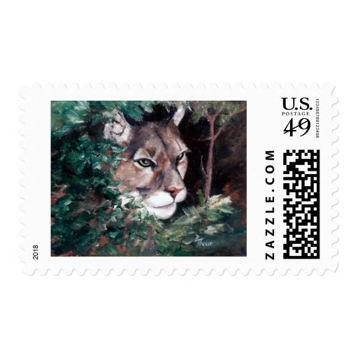 Watching Cougar Postage Stamp