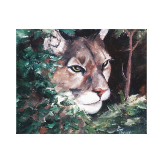 Watching Cougar Wrapped Canvas Canvas Prints
