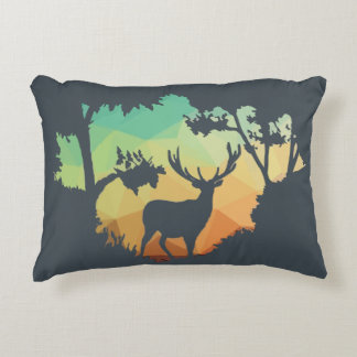 Watching Deer Silhouette in Nature Accent Pillow