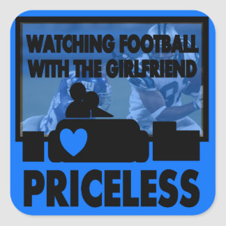 Watching Football With The Girlfriend Square Sticker
