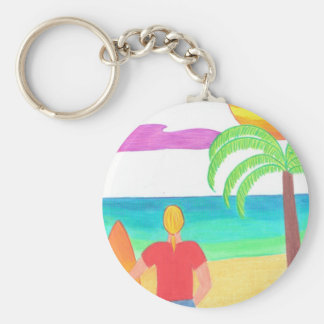 Watching for Waves Basic Round Button Keychain