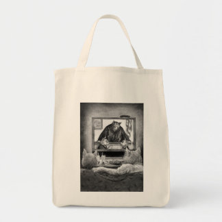 Watching Judge Kitty Grocery Tote Bag