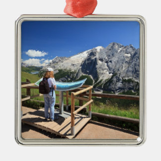watching Marmolada mount Square Metal Christmas Ornament